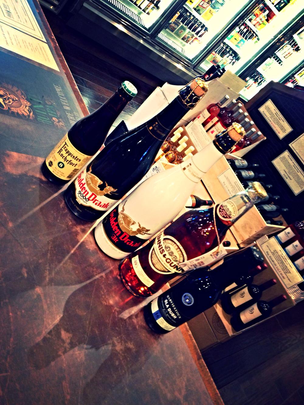 Rochefort 8, Gulden Draak, Gulden Draak 9000 Quad, Innis & Gunn Cherrywood Aged w/ Maple Syrup, and Harviestouns Ola Dubh 16 Year