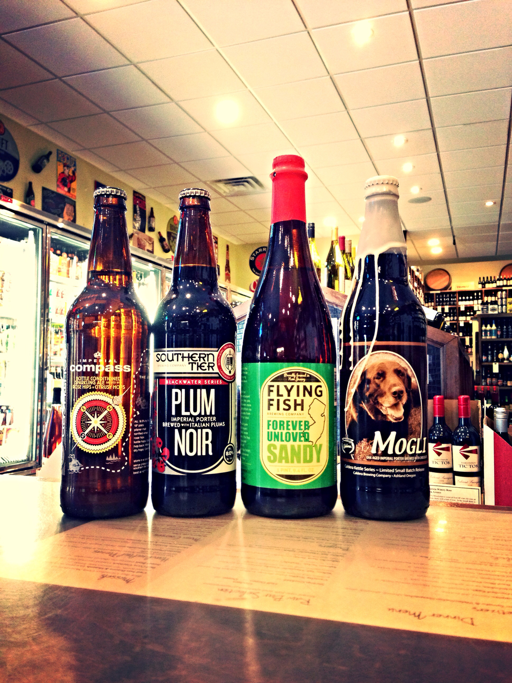 Southern Tier Compass & Plum Noir, Flying Fish Forever Unloved Sandy, and Caldera Mogli