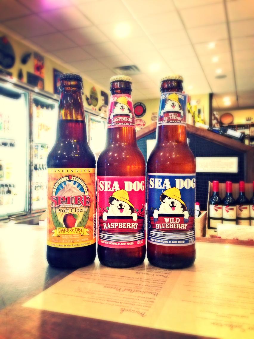 Spire Mountain Dark & Dry Draft Cider, Sea Dog Raspberry & Wild Blueberry