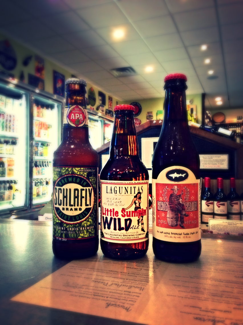Schlafly Dry Hopped APA, Lagunitas Little Sumpin WILD, and Dogfish Head Burton Baton