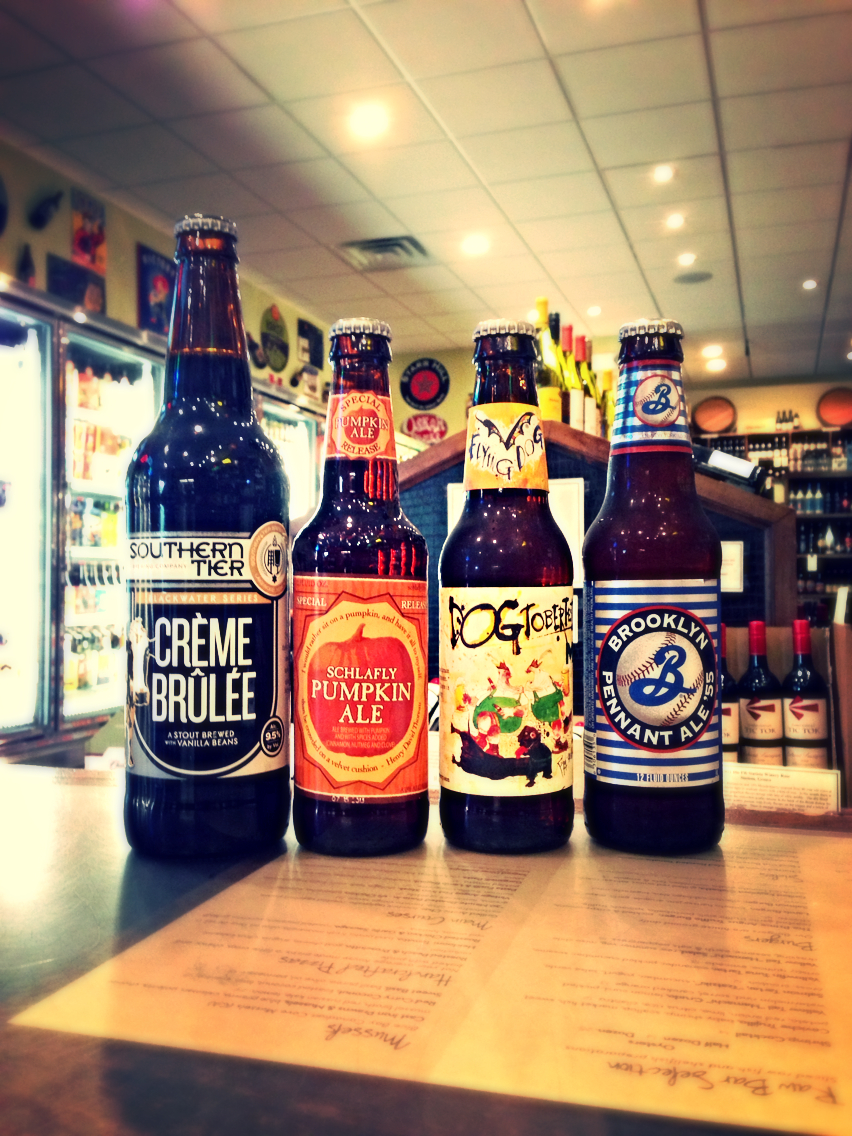 Southern Tier Creme Brulee Stout, Schlafly Pumpkin Ale, Flying Dog Dogtoberfest Marzen, and Brooklyn Pennant Ale