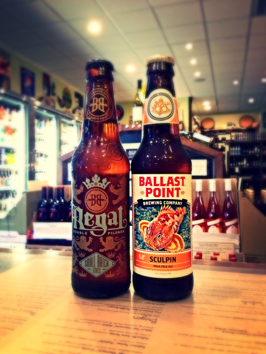 Breckenridge Regal Pils & Ballast Point Sculpin IPA
