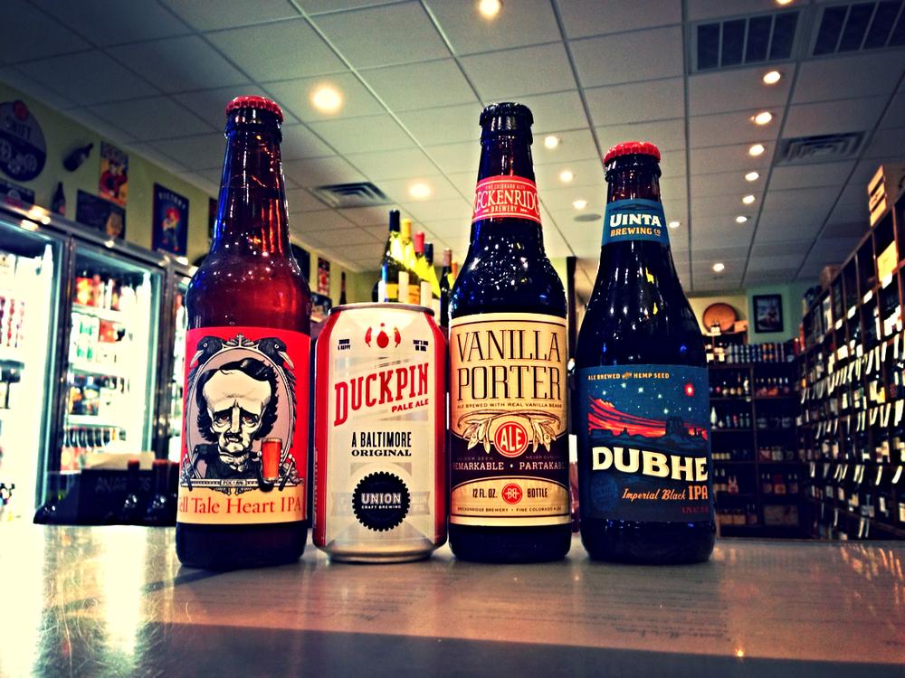 Baltimore Beer Works Tell Tale Hearty IPA, Union Craft Duckpin Pale, Breckenridge Vanilla Porter, Uinta Dubhe Imperial Black IPA