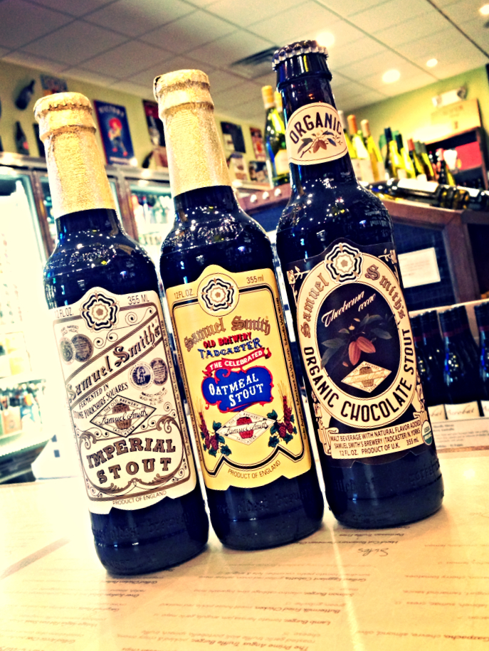 Samuel Smith's Imperial Stout, Oatmeal Stout, and Chocolate Stout