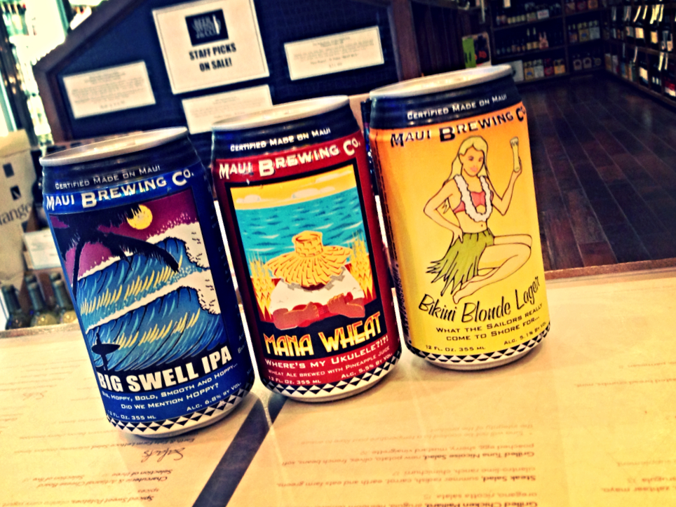 Maui Big Swell IPA, Mana Wheat, and Bikini Blonde