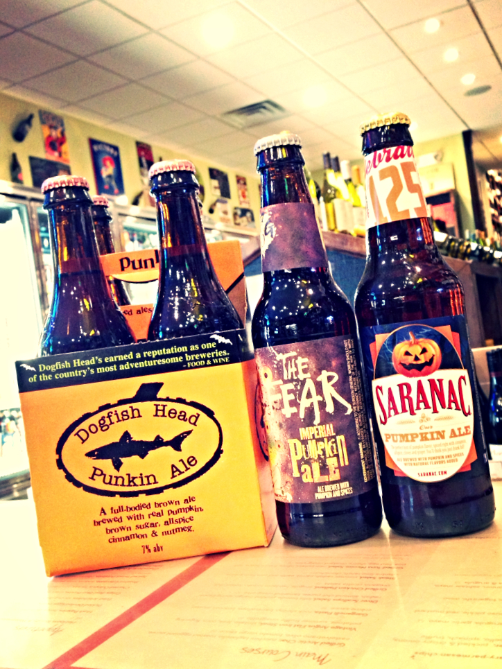 Dogfish Head Punkin, Flying Dog The Fear Imperial Pumpkin, and Saranac Pumpkin