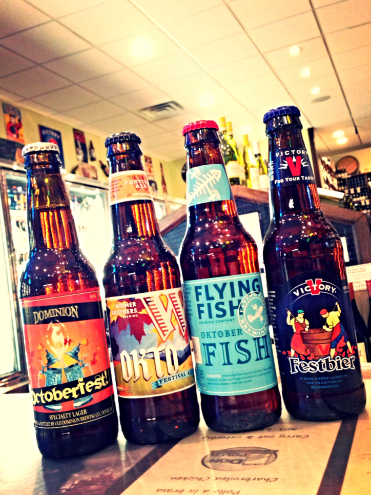 Dominion Octoberfest, Widmer Okto, Flying Fish Oktoberfish, and Victory Festbier
