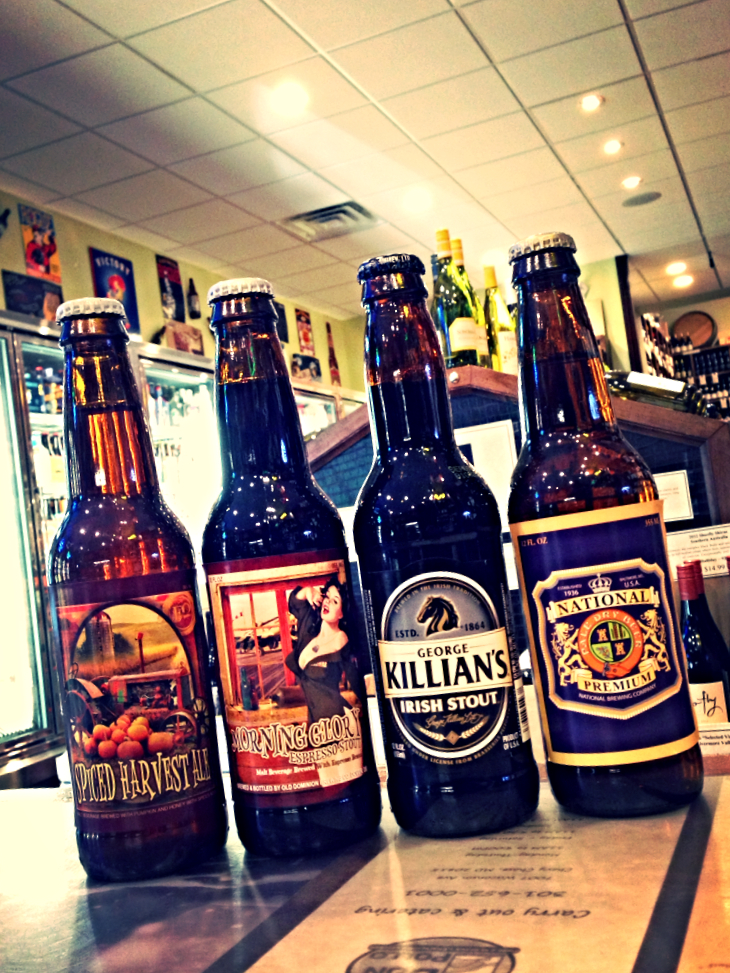 Fordham Spiced Harvest Ale, Dominion Morning Glory Espresso Stout, Killians Irish Stout, and National Premium