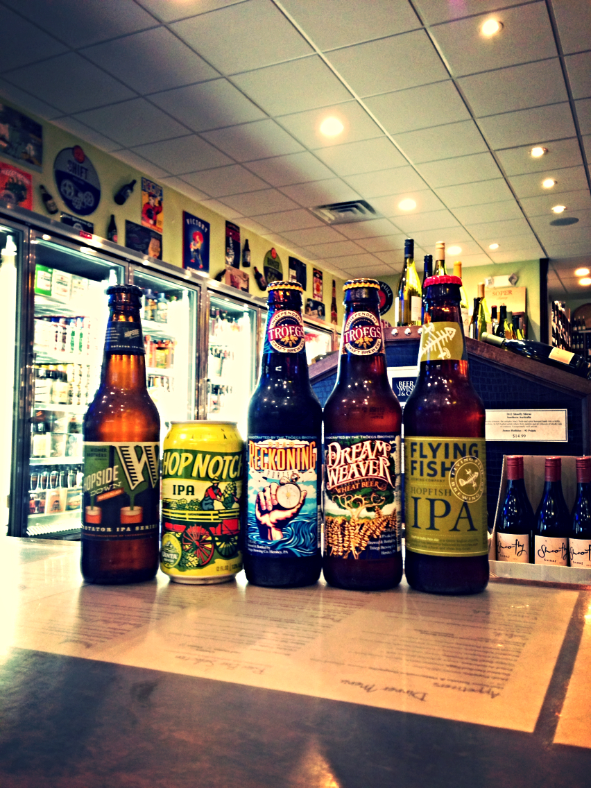 Widmer Bros Flipside IPL, Uinta Hop Notch IPA ,Troegs Dead Reckoning Porter & Dreamweaver Wheat, Flying Fish Hopfish IPA