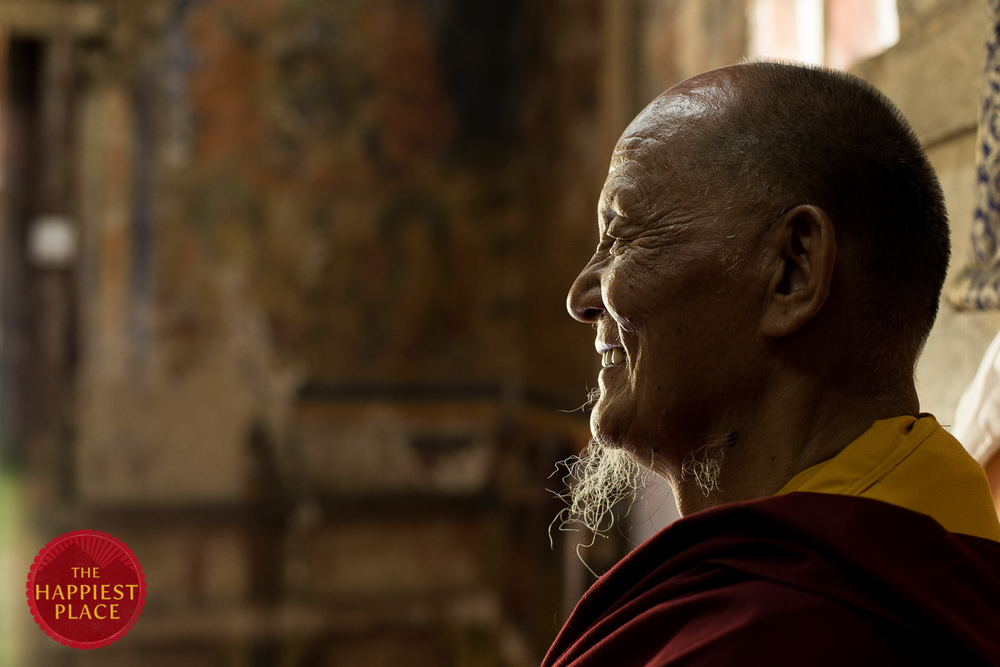 A still from an interview with His Holiness Khenpo Karpo Rinpoche, the heart of the Guru Rinpoche project in Eastern Bhutan, and one of the inspirations for Ben's return trip.
