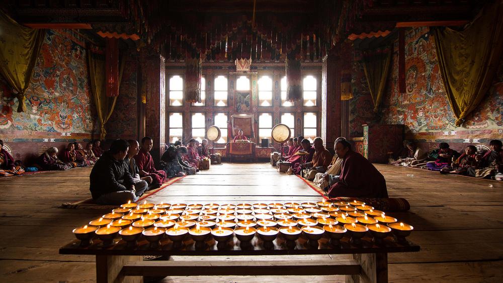 Ben films a Puja Ceremony in Ura Village in Eastern Bhutan during his return trip // June 2012