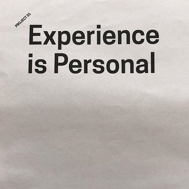 Care about your craft. Don't be sloppy. Work to the best of your ability. #experienceispersonal #creatinganopportunityforexperience #project01