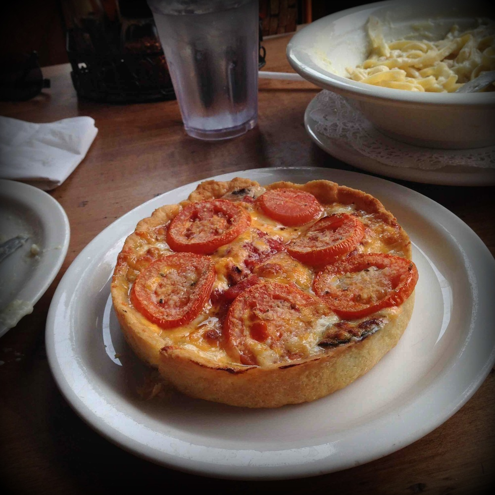 Deep dish pizza at Lou Malnati's