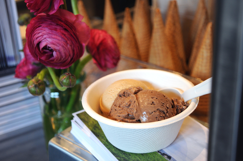 A scoop of Salty Caramel + Milk Chocolate Bombay at Jeni's Splendid Ice Cream