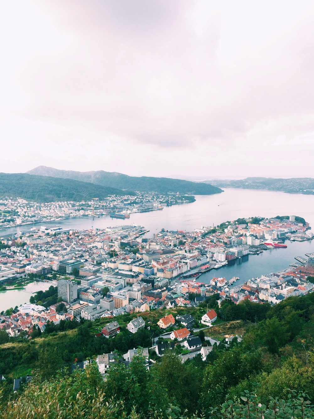 View of Bergen from the top of Mount Fløyen