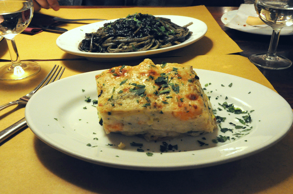 Vegetable and shrimp lasagna at Ca D'Oro