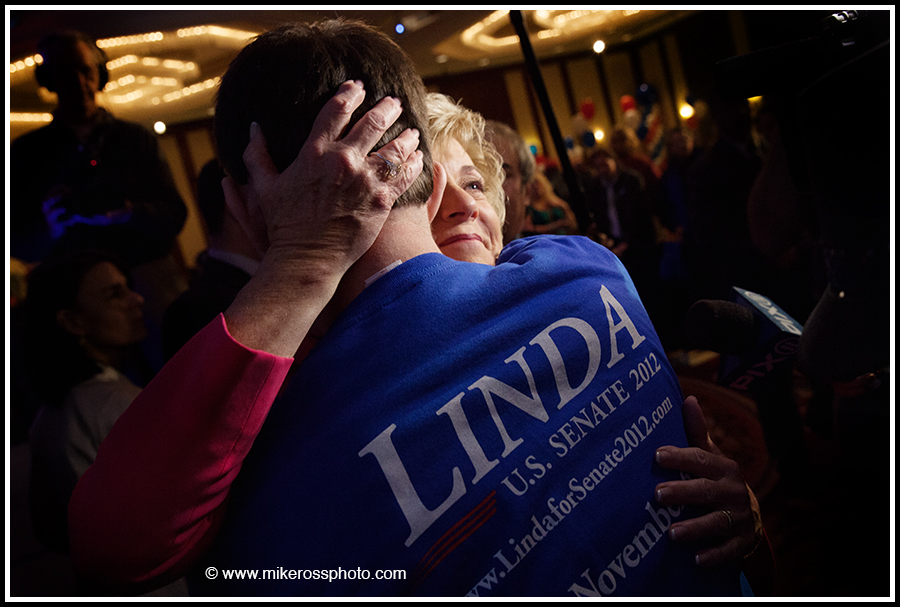 Mike Ross Connecticut freelance - Republican candidate for U.S. Senate Linda McMahon hugs a supporter after her concession speech at the Hilton Hotel in Stamford, CT on Tuesday November, 6 2012. McMahon, a Republican who once ran World Wrestling Entertainment with blustery and better-known husband Vince McMahon, was beaten by Democrat Chris Murphy. She also lost in 2010 in a bid for the Senate. McMahon spent more than $100 million of her own wealth in the two race for retiring independent Sen. Joe Lieberman's seat.