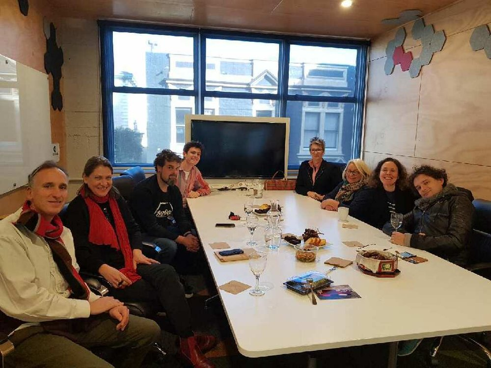 2018 Peer to Peer Mentoring team: From left: Mark Amery (UDB), Candace Smith, Mark Antony Smith, Thomas Bas (Mouthfull), Jo Randerson, Rosie White, Helen Kirlew Smith (UDB) and Sam Trubridge. Absent: Vivienne Atkinson