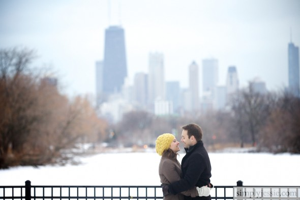 Snowy Chicago Skyline Engagement Photography