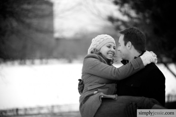 Snowy Midwest Engagement Photography