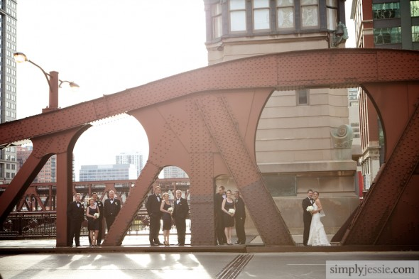 Bridal Party Downtown Chicago Bridge