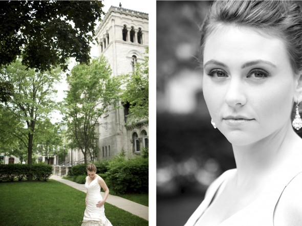 Elegant Chicago bride at St. Clement