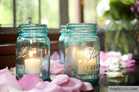 Fleur Blue Mason Jars