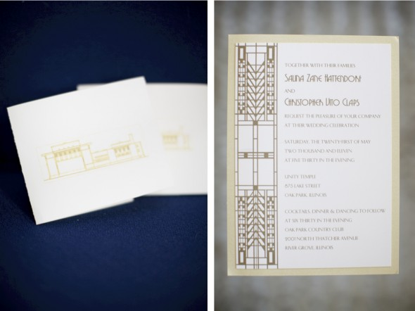 Cream And Gold Wedding Invitations: Unity Temple And Oak Park Country Club