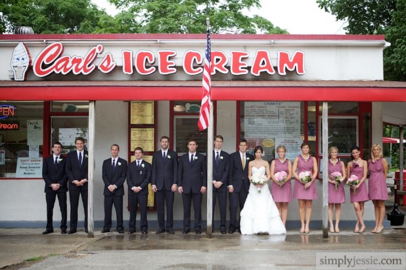 Bridal Party at Ice Cream Parlor