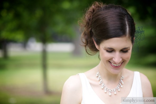 Bride laughing on wedding day