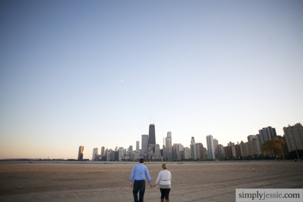 Chicago Skyline Engagement photgoraphy