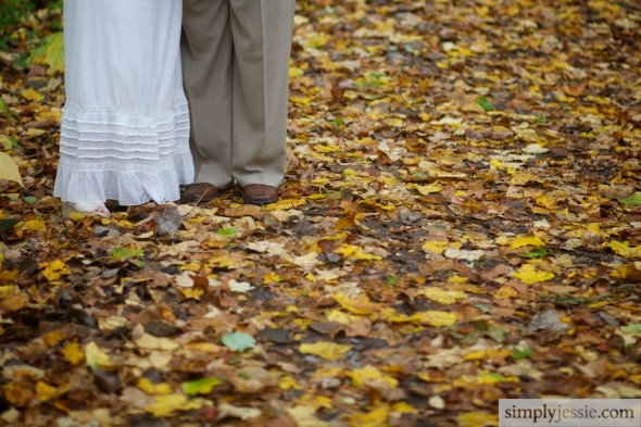 Fall Leaves Bride & Groom