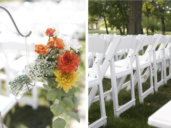 Orange wedding ceremony flowers