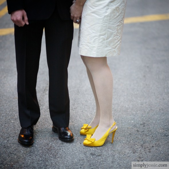 Yellow shoes on bride