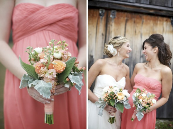 Coral Bridesmaid dresses in midwest wedding