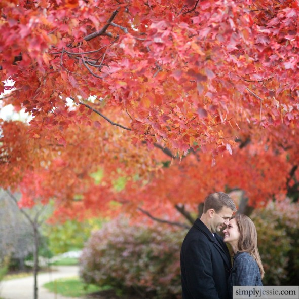 Red Fall Color Engagement Photography