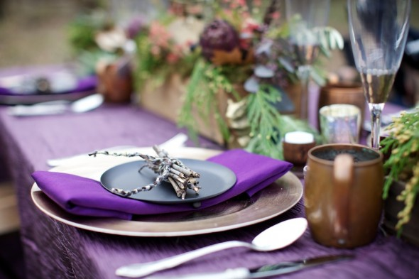 Purple & Gold Table Setting