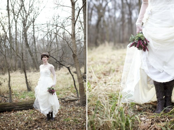 Woodland Bride in boots