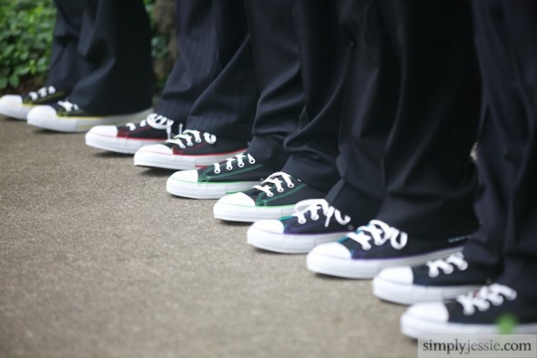 Converse shoes on groomsmen