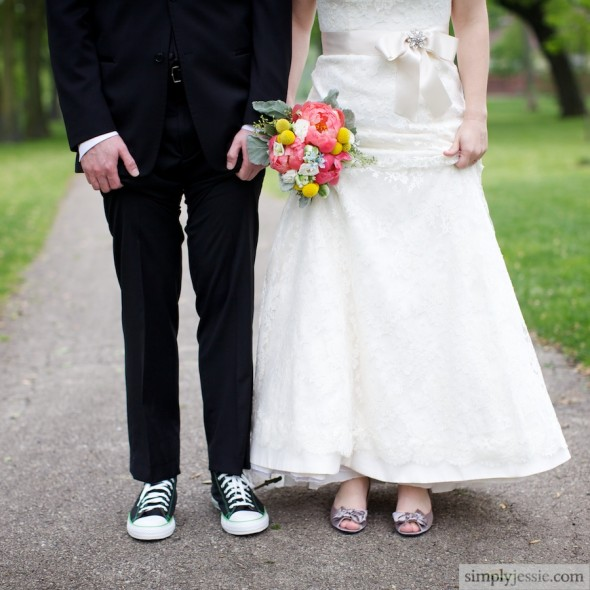 Converse Shoes for groom & heels for bride