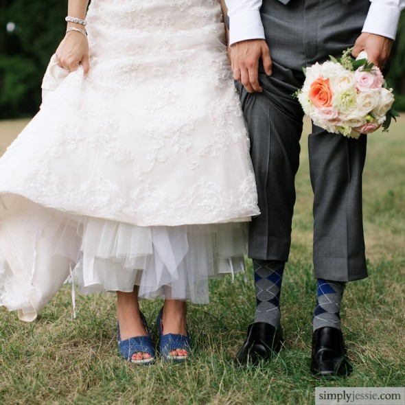 Blue Toms on bride