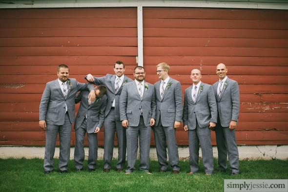 Groomsmen & red barn
