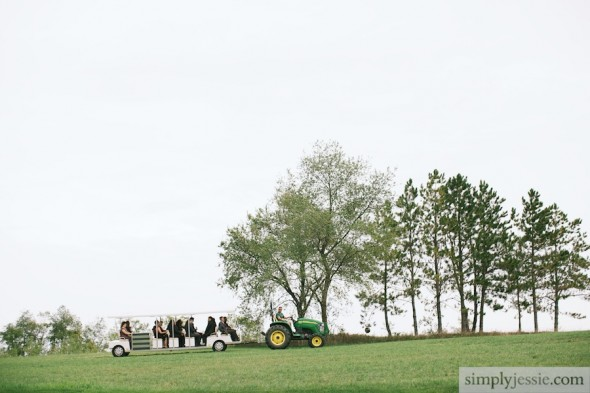 Tractor shuttling wedding guests