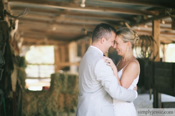 Bride & groom in barn, Sonoma CA