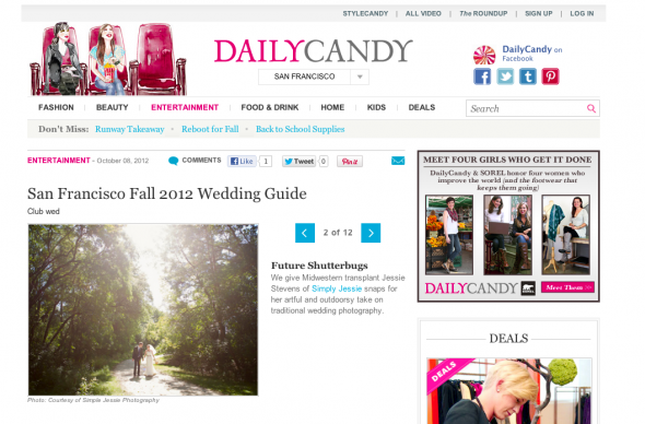 Simply Jessie Photography in SF Daily Candy Wedding Guide