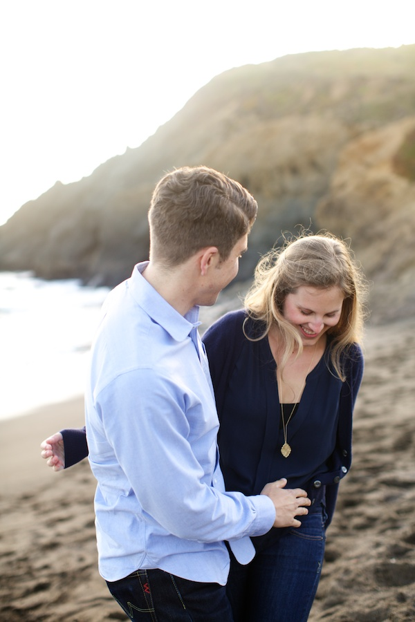 Natural Engagement photography at Rodeo beach
