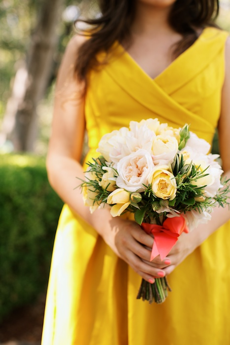 Romantic Peony Bouquet with Yellow bridesmaids dress