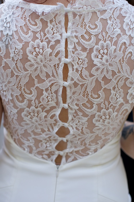 Lace back of wedding dress