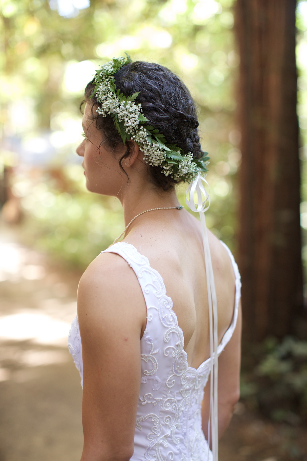 Sequoia Retreat Center Floral Crown  Wedding
