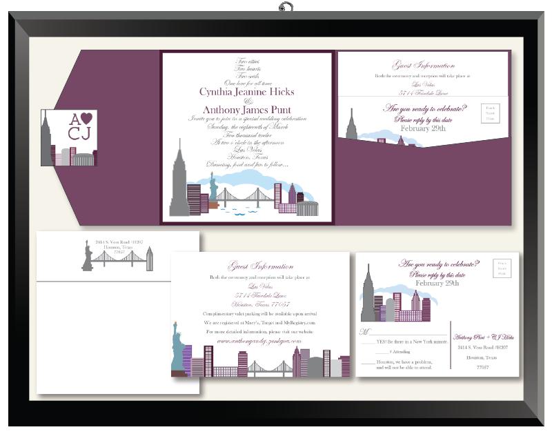 CJ & Anthony New York Houston Cityscape Wedding Invitations